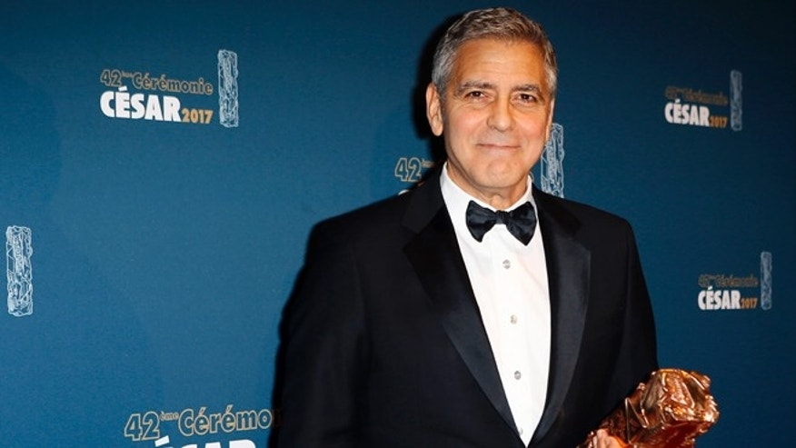 George Clooney criticized President Trump while accepting an honorary Cesar Award.