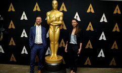 "Director Orlando von Einsiedel and producer Joanna Natasegara of ""The White Helmets,"" Academy Award nominee for Documentary (Short Subject), pose at a reception at the Academy of Motion Picture Arts and Sciences in Beverly Hills, California U.S., February 22, 2017.   REUTERS/Mario Anzuoni - RTSZWYG"