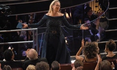 Meryl Streep stands for applause at the Oscars on Sunday, Feb. 26, 2017, at the Dolby Theatre in Los Angeles.