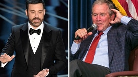 "George W. Bush (right) appeared on ""Jimmy Kimmel Live"" on March2, 2017 to promote his new book ""Portraits of Courage: A Commander in Chief's Tribute to America's Warriors."" He also praised the late night host's Oscars monologue."