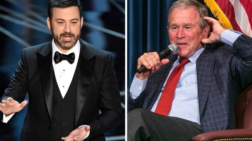 "George W. Bush (right) appeared on ""Jimmy Kimmel Live"" on March 2, 2017 to promote his new book ""Portraits of Courage: A Commander in Chief's Tribute to America's Warriors."" He also praised the late night host's Oscars monologue"