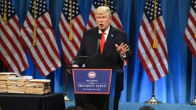 """SATURDAY NIGHT LIVE -- """"Felicity Jones"""" Episode 1715 -- Pictured: Alec Baldwin as President Elect Donald J. Trump during the Trump Press Conference Cold Open on January 14th, 2017 -- (Photo by: Will Heath/NBC)"""
