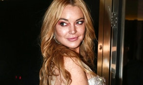 This Oct. 16, 2016 file photo shows actress Lindsay Lohan at the entrance of the Lohan Nightclub during the opening night in Athens, Greece.