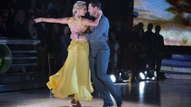 """Heather Morris (left) and her partner Maksim Chmerkovskiy on """"Dancing with the Stars."""""""