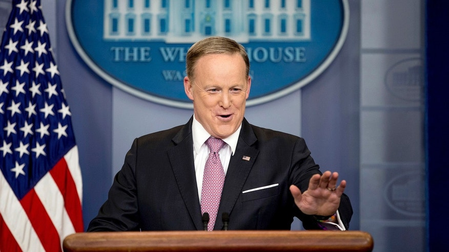 In this March 10, 2017, photo, White House press secretary Sean Spicer talks to the media during the daily press briefing at the White House in Washington.