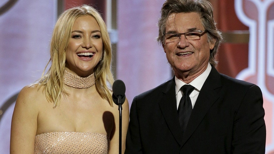 Kate Hudson and Kurt Russell present at the 73rd Golden Globe Awards in Beverly Hills, California January 10, 2016.