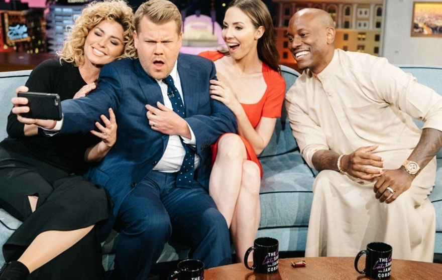 "From l-r: Shania Twain, James Corden, Whitney Cummings, and Tyrese Gibson on ""The Late Late Show with James Corden,"" Tuesday, April 18, 2017."