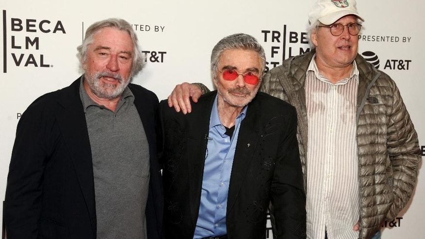 "Robert De Niro, from left, Burt Reynolds and Chevy Chase attend the screening of ""Dog Years,"" during the 2017 Tribeca Film Festival, at Cinepolis Chelsea on Saturday, April 22, 2017, in New York. (Photo by Andy Kropa/Invision/AP)"