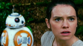 "This photo provided by Disney/Lucasfilm shows Daisy Ridley, right, as Rey, and BB-8, in a scene from the film, ""Star Wars: The Force Awakens,"" directed by J.J. Abrams. The movie opens in U.S. theaters on Friday, Dec. 18, 2015.  (Film Frame/Disney/Lucasfilm via AP)"