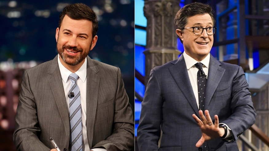 Jimmy Kimmel, left, and Stephen Colbert have both recently discussed politics on their late-night shows.