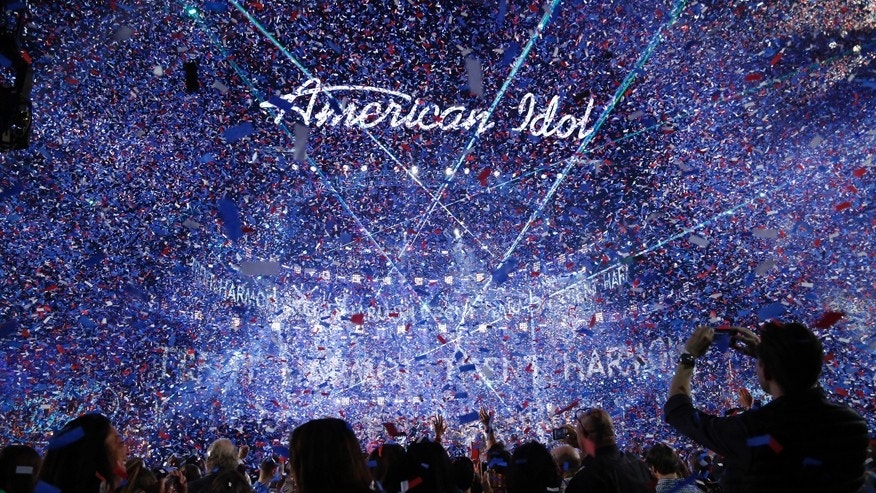 Confetti is released during the conclusion of the American Idol Grand Finale in Hollywood, California April 7, 2016.
