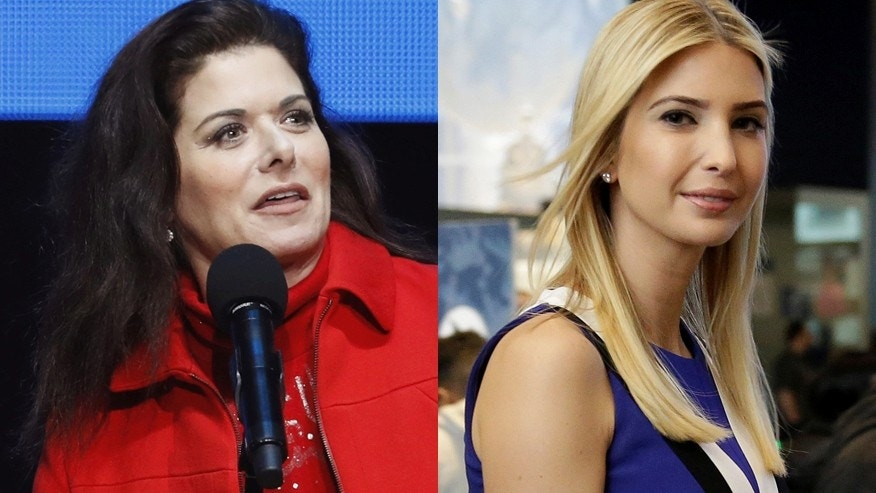 Actress Debra Messing (left) speaks during a concert and campaign rally for U.S. Democratic presidential nominee Hillary Clinton in Philadelphia, Pennsylvania, U.S., November 5, 2016. Ivanka Trump (right) during a visit to the Smithsonian's National Air and Space Museum in Washington, U.S., March 28, 2017.