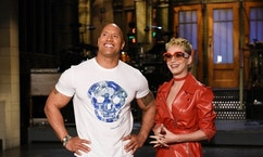"SATURDAY NIGHT LIVE -- ""Dwayne Johnson"" Episode 1725 -- Pictured: (l-r) Host Dwayne Johnson with musical guest Katy Perry in Studio 8H on May 17, 2017 -- (Photo by: Rosalind O'Connor/NBC)"