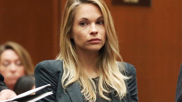 Model and Playboy bunny Dani Mathers appears in Los Angeles County Superior Court to answer charges related to her taking a photo of a naked, 71-year-old woman in a gym locker room and posting it on social media in Los Angeles on Wednesday, May 24, 2017.