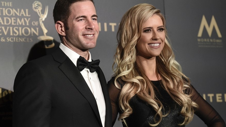 Tarek El Moussa, left, and Christina El Moussa pose in the press room at the 44th annual Daytime Emmy Awards at the Pasadena Civic Center on Sunday, April 30, 2017, in Pasadena, Calif.