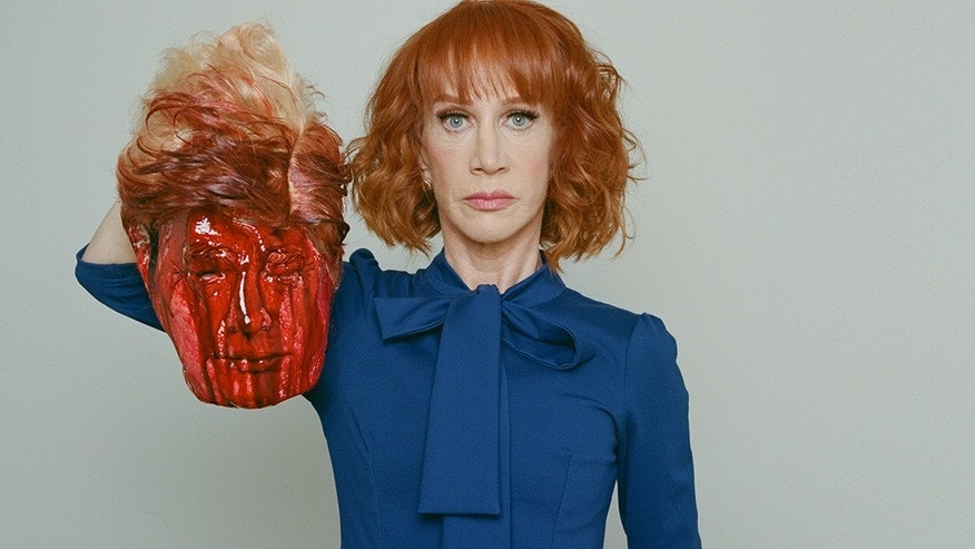 Kathy Griffin holding a bloody Trump mask.