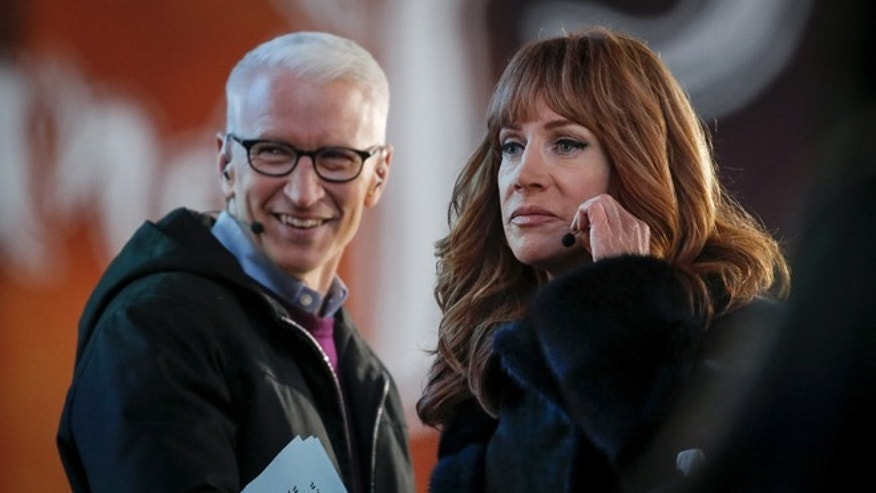 American journalist Anderson Cooper with actress Kathy Griffin