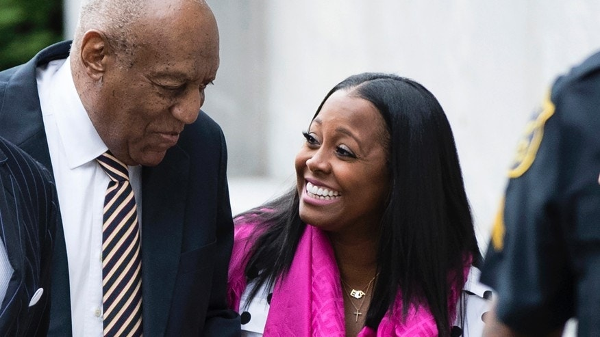 Bill Cosby arrives for his sexual assault trial with Keshia Knight Pulliam, right, at the Montgomery County Courthouse in Norristown, Pa., Monday, June 5, 2017.