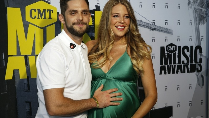 Country singer Thomas Rhett (left) and his wife Lauren at the CMT Awards, Wednesday, June 7, 2017.