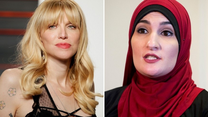 Courtney Love (left) and pro-Palestinian activist Linda Sarsour.