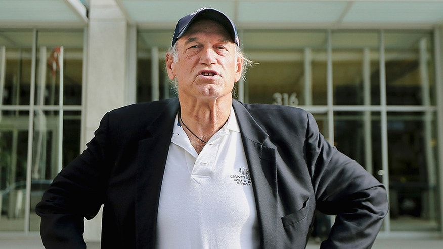 In this Oct. 20, 2015, file photo, former Minnesota governor and professional wrestler Jesse Ventura talks to reporters outside the federal building in St. Paul, Minn.