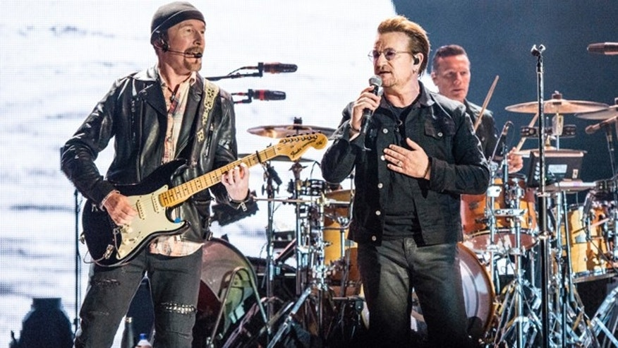 U2 perform at the Booaroo Music Festival in Tennessee.