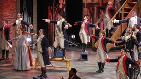 "Lin-Manuel Miranda (center, L) from ""Hamilton"" performs with the cast during the American Theatre Wing's 70th annual Tony Awards in New York, U.S., June 12, 2016. REUTERS/Lucas Jackson - RTX2FUW6"