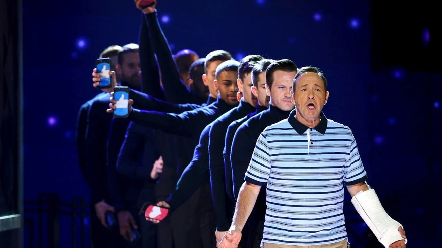 Kevin Spacey and the cast of Dear Evan Hansen perform at the 71st annual Tony Awards on Sunday, June 11, 2017, in New York.