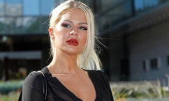 FILE - In this Wednesday, Jan. 14, 2015 file photo, Chloe Goins, a model who claims entertainer Bill Cosby drugged and sexually abused her at the Playboy Mansion in 2008, appears before reporters outside Los Angeles police headquarters after meeting police investigators in Los Angeles. As Cosby awaits a verdict in his sexual assault case in Pennsylvania, the comedian's civil lawyers are fighting lawsuits against him by 10 women around the country. A judge recently denied Cosby's motion to dismiss the Goins case and a trial has been scheduled for June 2018. (AP Photo/Nick Ut, File)