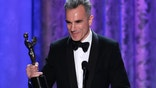 "Daniel Day-Lewis accepts the award for outstanding male actor in a leading role for ""Lincoln"" at the 19th annual Screen Actors Guild Awards in Los Angeles, California January 27, 2013."