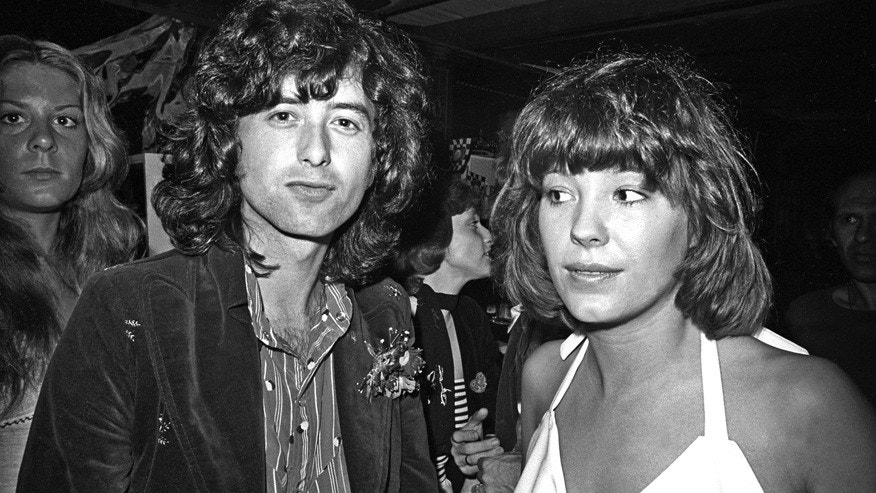 Led Zeppelin guitarist Jimmy Page arrives for an after party at Rodney's English disco accompanied by his girlfriend Miss Pamela (Pamela Des Barres).