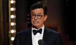 71st Tony Awards – Show – New York City, U.S., 11/06/2017 - Stephen Colbert reacts to the audience's reaction to a joke about President Trump. REUTERS/Carlo Allegri - RTS16MYB