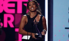 Solange accepts the Centric Award at the BET Awards in Los Angeles, California on June 25, 2017.
