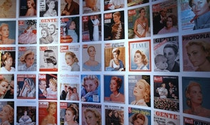 The front pages of magazines feature US actress and Princess of Monaco Grace Kelly as part of an exhibit at the Paris City Hall on June 8, 2008. The exhibition, with Frederic Mitterrand as curator, runs from June 10, to August 2008.   REUTERS/Joel Saget/Pool       (FRANCE) - RTX6POE