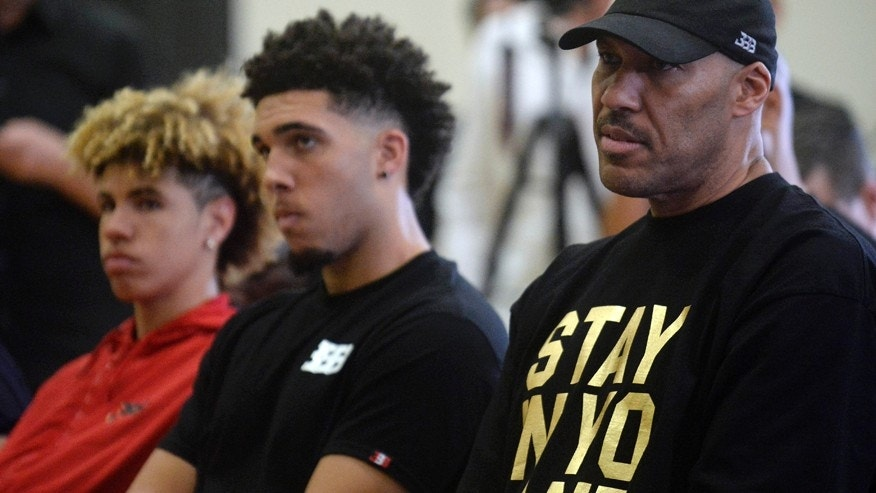 June 23, 2017; Los Angeles, CA, USA;  LaVar Ball the father of newly drafted Los Angeles Lakers player Lonzo Ball with sons LaMelo Ball and LiAngelo Ball in attendance at Toyota Sports Center.