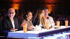 "Pictured: (l-r) Howie Mandel, Mel B, Heidi Klum and Simon Cowell of ""America's Got Talent."""