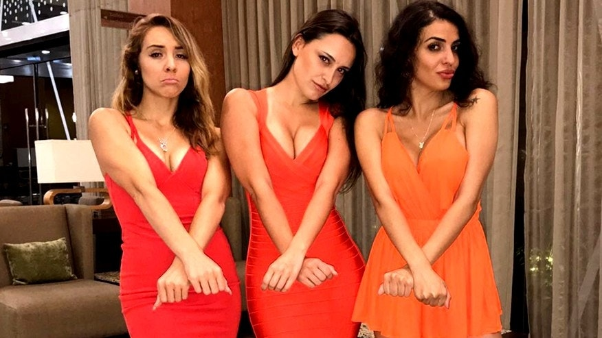 Playmates (l. to r.) Lauryn Elaine, Marie Brethenoux, and Elif Celik were taken into custody because Mexican authorities believed they were working at an event, but only had tourist travel visas.