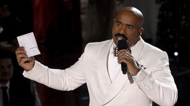 December 20, 2015. Host Steve Harvey speaks to the audience after Miss Colombia Ariadna Gutierrez was crowned Miss Universe during the 2015 Miss Universe Pageant in Las Vegas, Nevada.