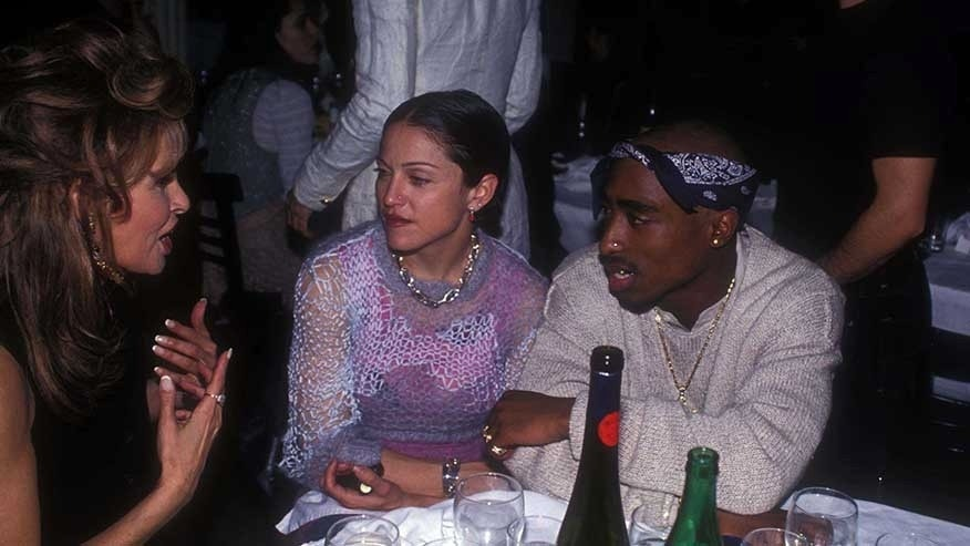 NEW YORK, NY - MARCH 01: (L-R) Raquel Welch, Madonna and Tupac Shakur at the Interview Magazine party in March 1, 1994 in New York City. (Photo by Patrick McMullan/Patrick McMullan via Getty Images)