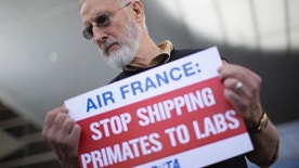 Actor James Cromwell holds a sign as he takes part in a PETA demonstration demanding Air France stop flying monkeys to laboratories, inside the Tom Bradley International Terminal at Los Angeles International Airport in Los Angeles, California April 28, 2014.