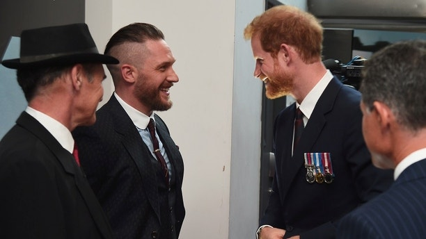 Prince Harry (R) and actors Mark Rylance (L) and Tom Hardy (C) attend the 'Dunkirk' World Premiere at Odeon Leicester Square on July 13, 2017 in London, Britain. REUTERS/Eamonn M. McCormack/Pool - RTX3BD15