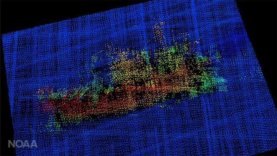 A 3-D image from multi-beam sonar shows Destination, including the bulbous bow to the right, the forward house and mast and equipment (likely crab pots) stacked amidships. (NOAA)
