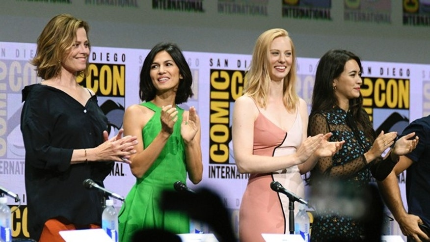 "Sigourney Weaver, Elodie Yung, Deborah Ann Woll and Jessica Henwick at the ""Marvel's The Defenders"" panel at Comic-Con International."