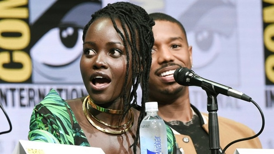 Lupita Nyong'o and Michael B. Jordan attend the Marvel panel at Comic-Con.
