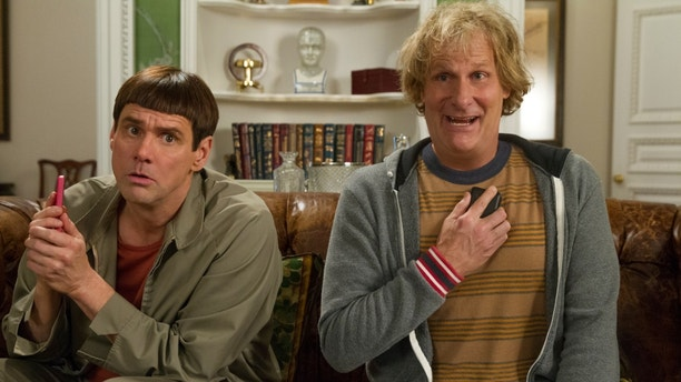 "This image released by Universal Pictures shows Jim Carrey, left, and Jeff Daniels in a scene from ""Dumb and Dumber To."" (AP Photo/Universal Pictures, Hopper Stone)"