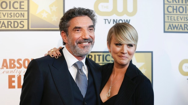 Producer and writer Chuck Lorre and actress Kaley Cuoco pose at the 4th annual Critics&#x27 Choice Television Awards in Beverly Hills California