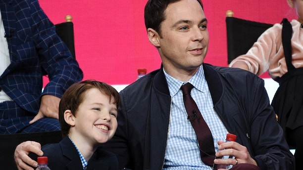 "Iain Armitage, left, a cast member in the CBS series ""Young Sheldon,"" and executive producer/narrator Jim Parsons take part in a panel discussion during the 2017 Television Critics Association Summer Press Tour on Tuesday, August 1, 2017, in Beverly Hills, Calif."