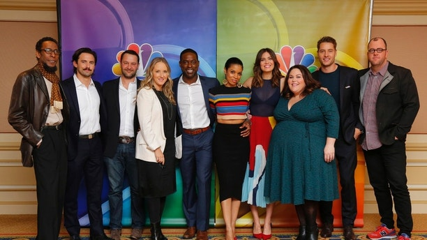 "NBCUNIVERSAL EVENTS -- NBCUniversal Press Tour, January 2017 -- NBC's ""This Is Us"" -- Pictured: (l-r) Ron Cephas Jones, Milo Ventimiglia, Dan Fogelman, Creator/Executive Producer; Jennifer Salke, President, NBC Entertainment; Sterling K. Brown, Susan Kelechi Watson, Mandy Moore, Chrissy Metz, Justin Hartley, Chris Sullivan -- (Photo by: Paul Drinkwater/NBC)"
