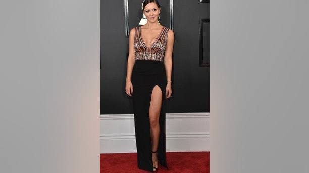 Katharine McPhee arrives at the 59th annual Grammy Awards at the Staples Center on Sunday, Feb. 12, 2017, in Los Angeles. (Photo by Jordan Strauss/Invision/AP)