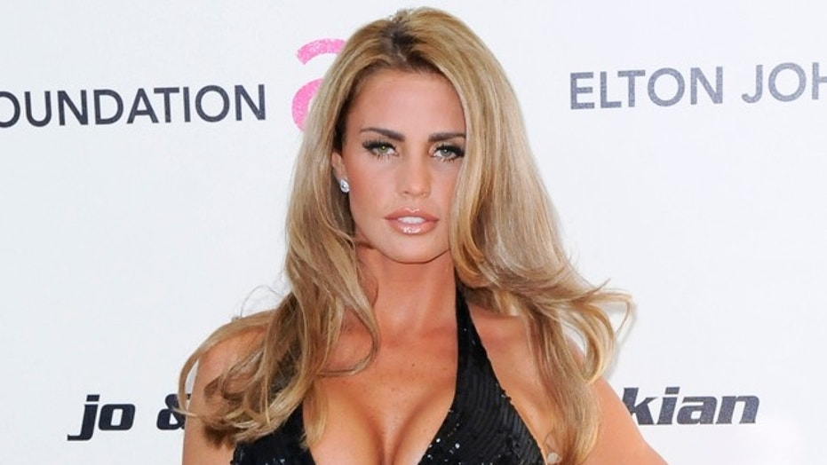 British model and actress Katie Price arrives at the 19th Annual Elton John AIDS Foundation Academy Award viewing party is West Hollywood, California on Feb. 27, 2011.